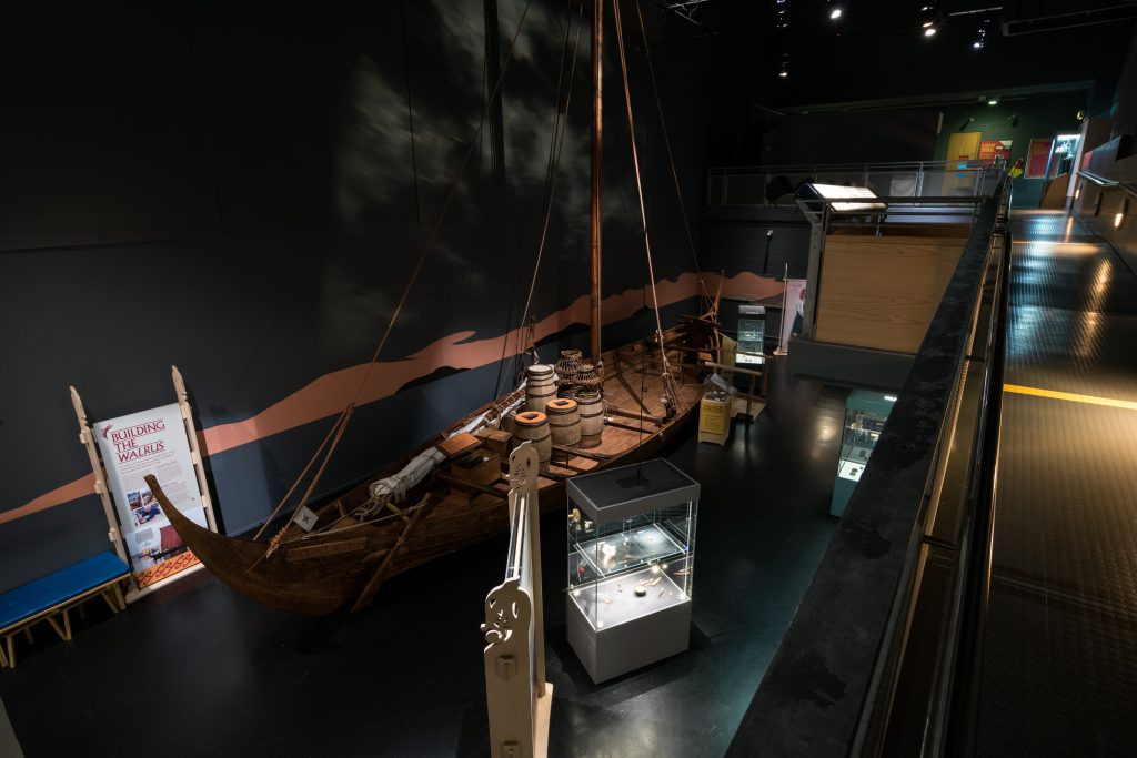 A 14m climb aboard full scale replica cargo ship built in-house at The National Maritime Museum Cornwall as part of the Viking Voyagers exhibition. Photo by Paul Abbitt