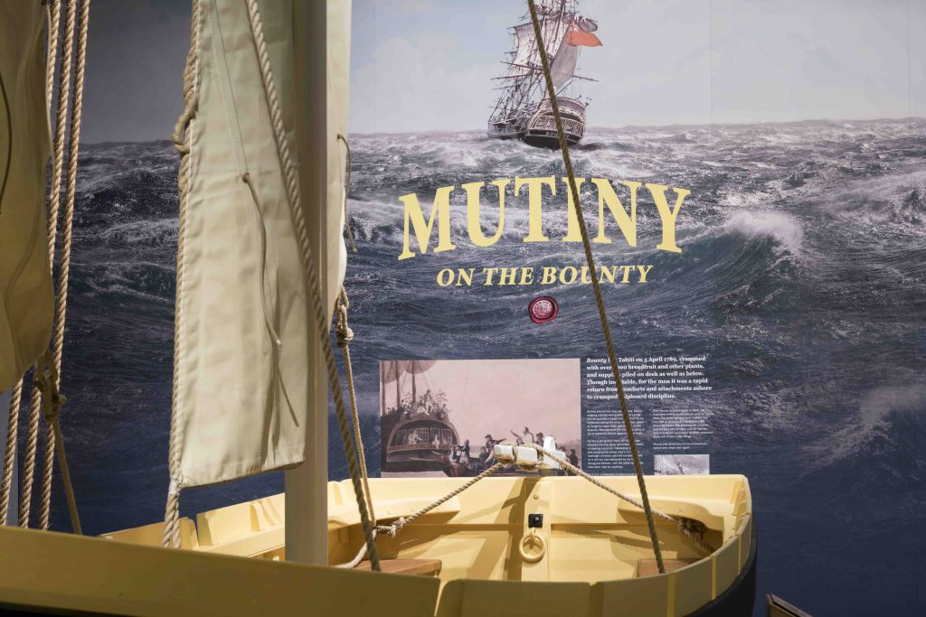 The Bounty Launch in Captain Bligh, Myth, Man and Mutiny exhibition at The National Maritime Museum Cornwall in Falmouth. Photo by Paul Abbitt.