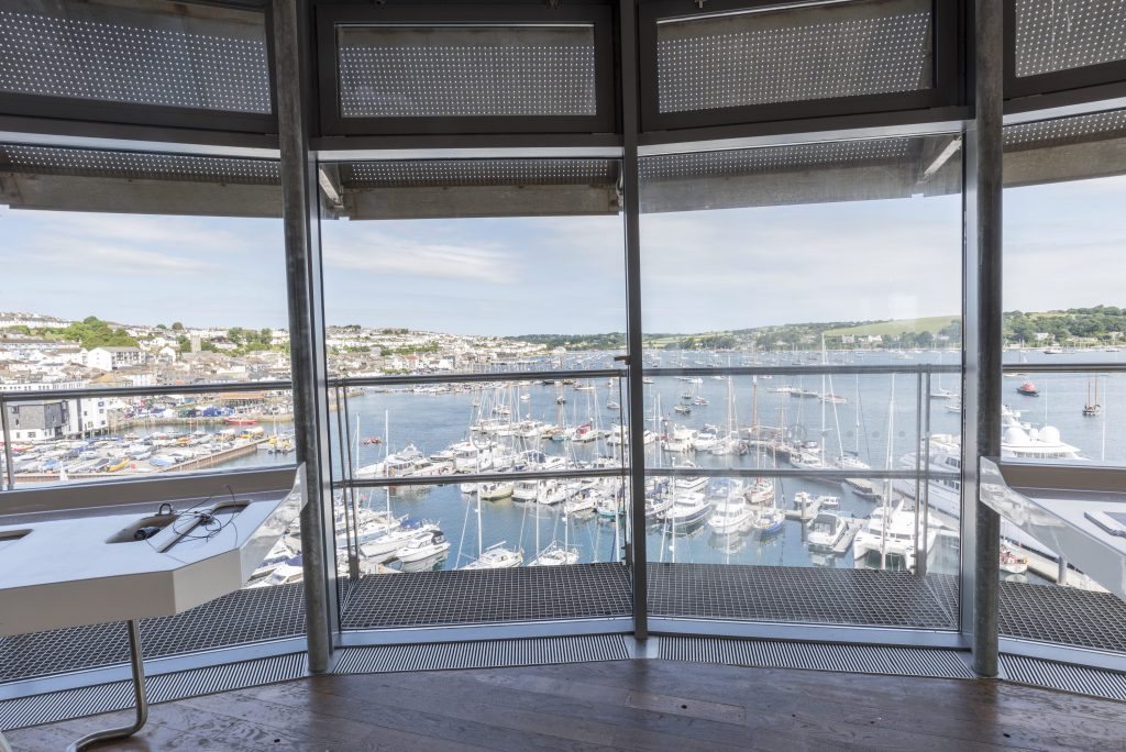 The view from The Look Out Tower at The National Maritime Museum Cornwall in Falmouth